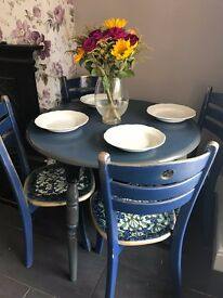 SHABBY CHIC ROUND DINING TABLE and 4 CHAIRS BLUE GOLD GREY UNUSUAL DESIGN