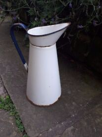 Vintage Antique Retro French Enamel Water Jug Pitcher White and Blue Rim Vase