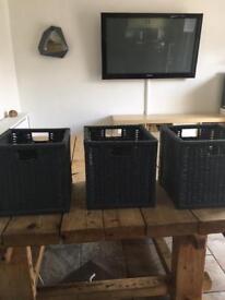 Ikea kallax baskets x 3 in grey as new