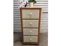 Tall solid chunky pine chest of drawers painted Annie Sloan 'Old White' and waxed top & sides