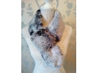 Women's Faux Fur Frosted Black Thread Through Scarf by Frank Usher BNWT