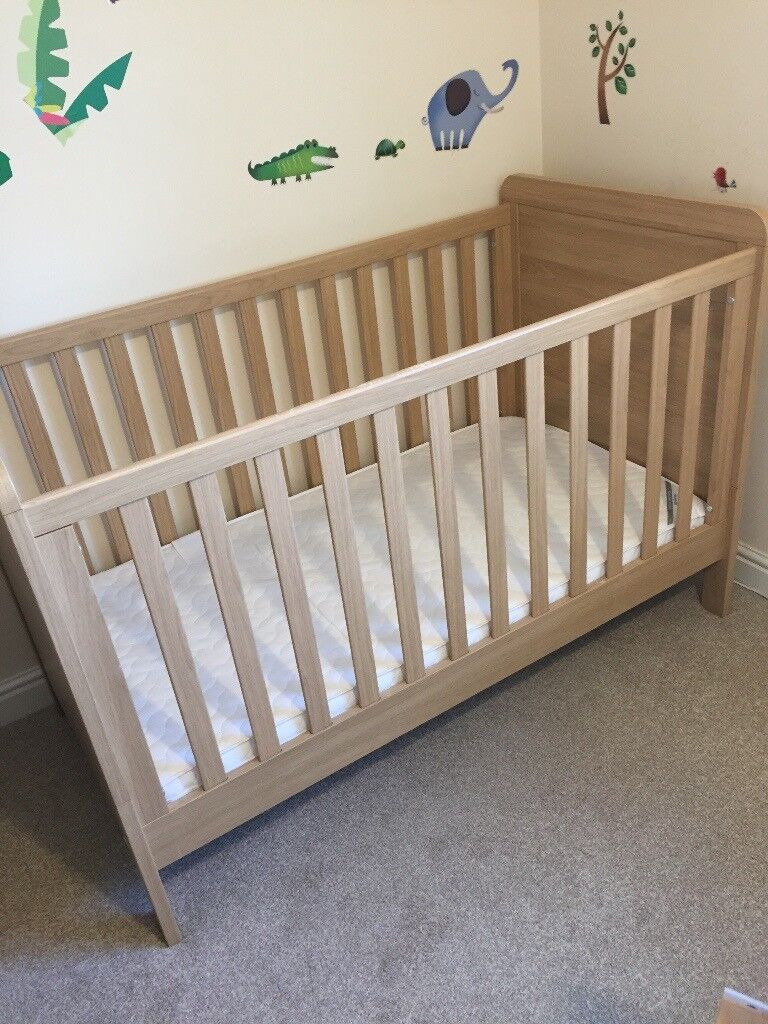 Mamas and Papas Rialto 3 pc nursery furniture with cot, wardrobe, drawers and extras