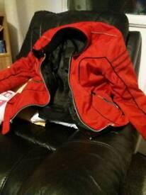 Red womaans motorbike jacket