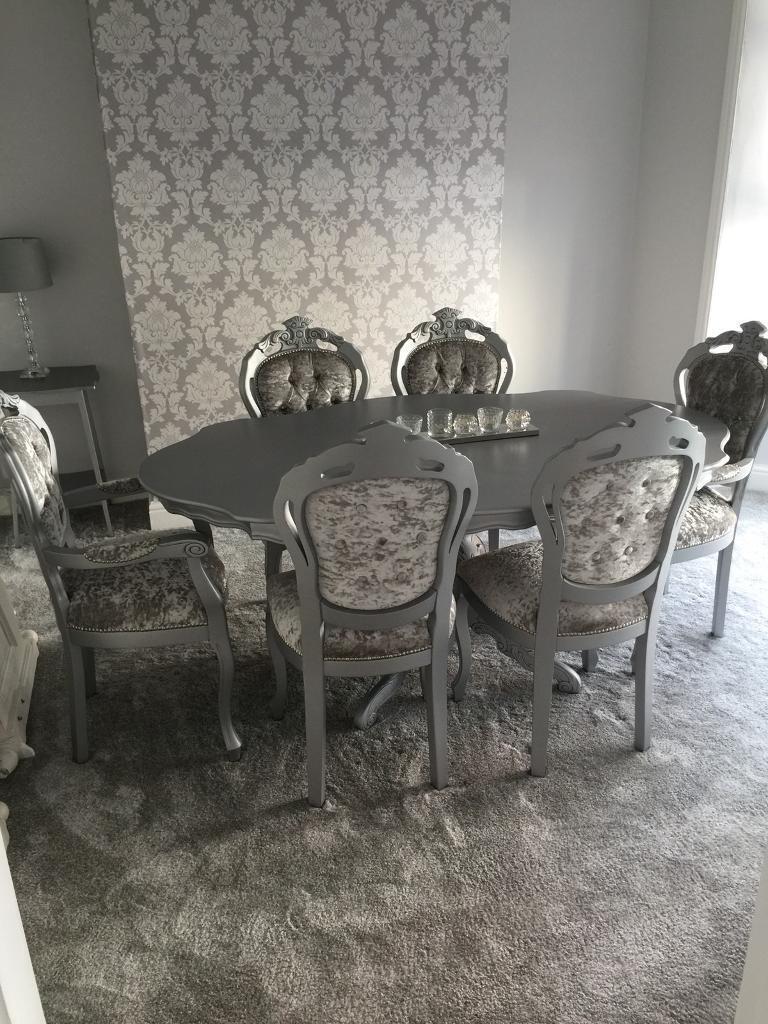 Silver Crushed Velvet With Swarovski Dining Room Suite