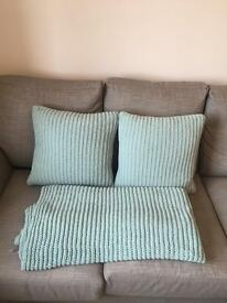 M & S Duck Egg Cushions and Throw