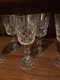 Crystal wine glasses x5