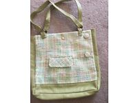Green leather and tweed bag