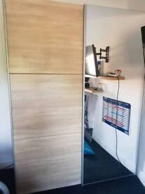 Oak Effect mirrored sliding wardrobe
