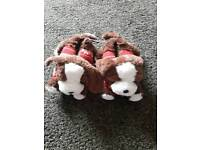 New Ladies / Girls Christmas Dog Slippers Size 3-4