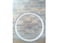 700c hybrid city rear 8-spd Shimano alloy wheel complete with tyre and tube, quick-release