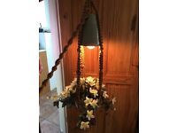 PRETTY 1970's POTTERY/MACRAME HANGING BASKET/LIGHT FEATURE