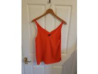 TOPSHOP Size 12 v-neck orange strap top