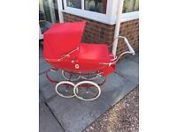 Dolls silver cross red coach built pram