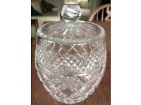 Beautiful crystal cut glass biscuit barrel