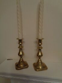 Brass ornaments, candle sticks, paper knife
