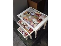 Upcycled Cream Nest Tables - Fabulous