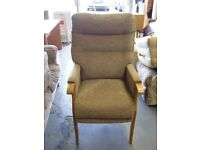 High Back Armchair in Brown. Excellent Condition