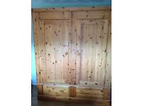 Large Solid Antique Pine Wardrobe