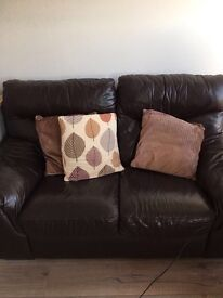 Two Sofas for Sale dark brown leather in good condition