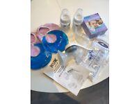 Breastfeeding Starter Kit; Pump, Haakaa, Milk Storage Bags, 2 bottles, Breast Ice Packs with Covers