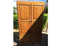Large solid pine wardrobe with 4 draws