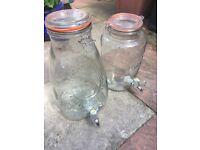2 x large original Kilner jars with taps 5L & 8L