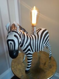 Large Tin Zebra Table Lamp
