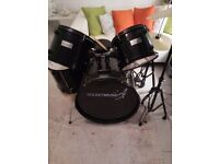 Black and white drum kit in perfect condition