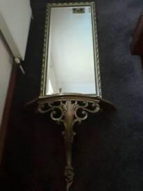 Gold mirror with dresser shelf