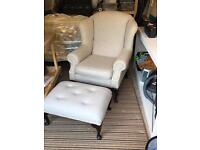 Newly Upholstered Large Wing Back Armchair & Footstool- Warwick Pale Grey Wool