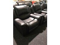 Black leather 3/1/1 full recliner suite