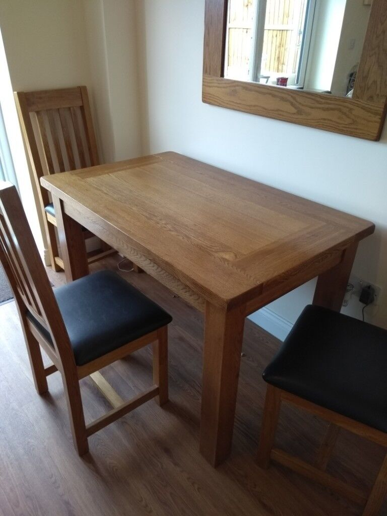 Heavy Solid Oak Dining Table And 3 Chairs