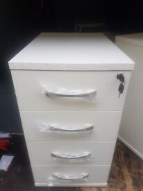 Lockable 4 drawer White wood effect office desk pedestals never been used