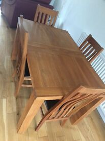 Real Oak 4 seater table and chairs
