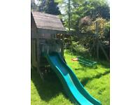 TP wooden climbing frame with slide and swing