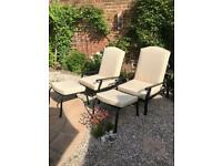 Garden Chairs( new this season) x2 with footstools and showerproof cushions