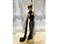 "beautiful Art Deco 1920s Lady Figurine 15"" tall in black and silver"