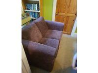 2 seater Brown fabric sofa