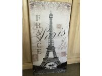 Wall Art Canvas Eiffel Tower France Paris Glitter Finish Picture 80cm x 40cms
