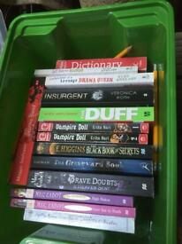Collection of 12 kids/girls books including Agatha Raisin, Veronica Roth, Gaiman and Vampire Dolls.