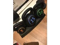 3 piece dumbbell set and stand