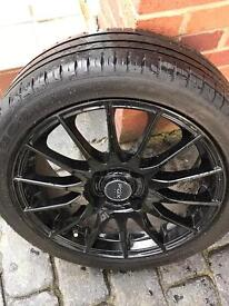 "16"" BLACK X 4 FORD FIESTA ALLOY WHEELS FOX RACING 004 GLOSS BLACK IN IMMACULATE CONDITION - FULL SET"
