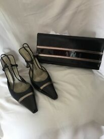 Size 4 Roland Cartier slingback shoes and matching clutch bag