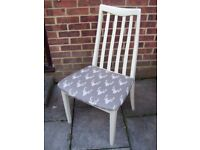 Gorgeous G Plan Chair Painted in Antique White and reupholstered in fabric of your choice