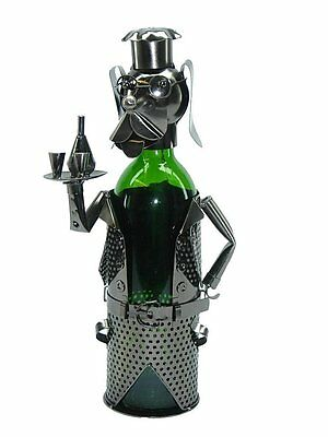NEW! Dog Waiter Cocktail Fun Silver Wine Bottle Holder Metal Birthday Gift zb680