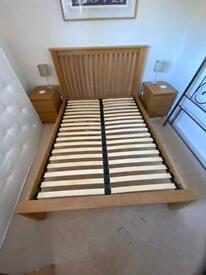 Solid oak double bed frame