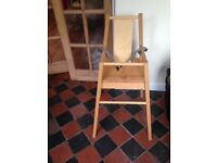 Highchair, wooden with straps & removable padded seat