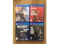 PS4 Games//Battlefield1/LastOfUs/CoD/Wolfenstein
