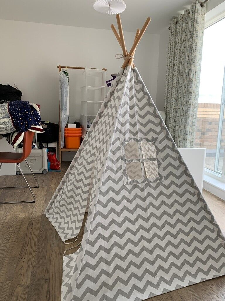 huge selection of 9ef35 ed888 Tiny Land Teepee Tent for Kids Children Play Tent for Indoor Outdoor, Grey  Chevron Canvas Like New | in Trumpington, Cambridgeshire | Gumtree