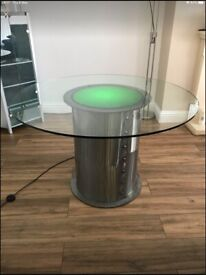 Round glass Table 4 ft with built in light (with chairs if wanted)